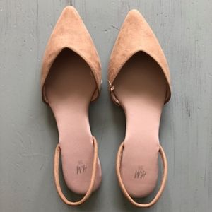 Tan Pointed Sling-Backs (Size 5.5)